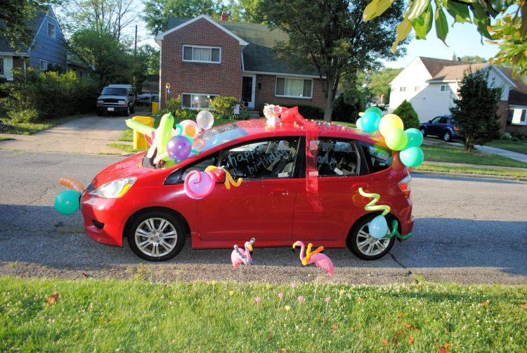 Balloons And Confetti On Car For Birthday