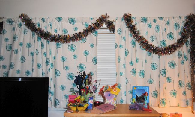 Teal Dandelion Curtains