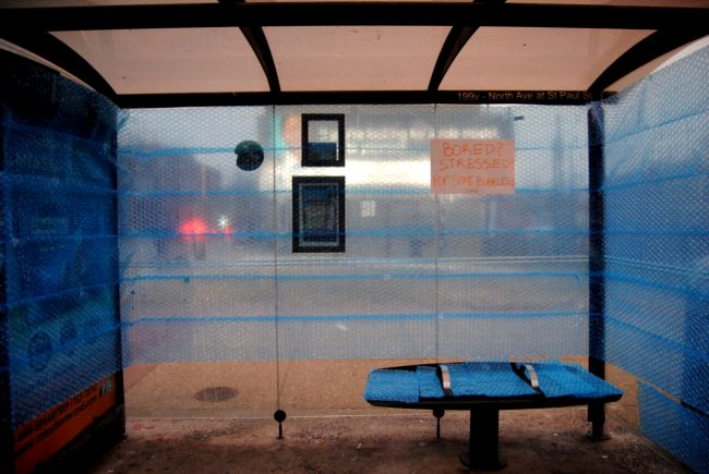 Bubble Wrap Bus Station | Uncustomary Art